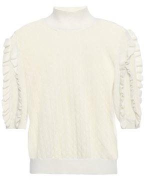 Joie Ruffle-trimmed Pointelle-knit Wool-blend Turtleneck Sweater
