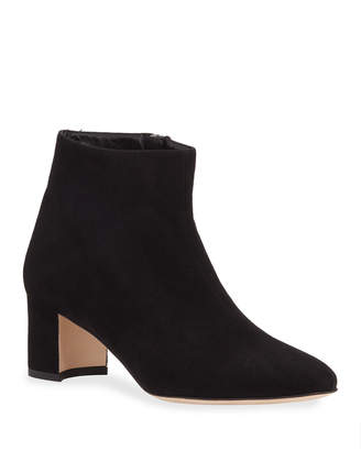 Manolo Blahnik Dilo Suede Low-Heel Booties