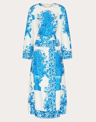 Valentino Printed Twill Dress Women Ivory/blue Silk 100% 40