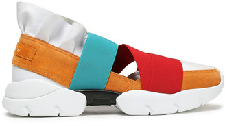 Emilio Pucci Ruffle-trimmed Color-block Leather, Suede, And Scuba Sneakers