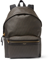 Saint Laurent Leather-Trimmed Monogrammed Canvas Backpack