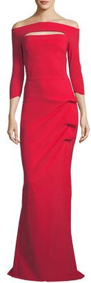 Chiara Boni Kate Long-Sleeve Gathered Trumpet Evening Gown