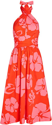 STAUD Moana Floral Halter Cotton Dress