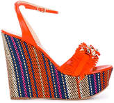 Casadei fringe strap wedge sandals