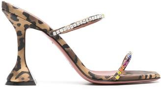 Amina Muaddi Leopard Print Crystal Strappy Heels