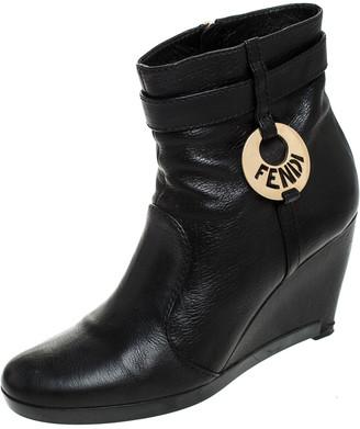 Fendi Black Leather Logo Wedge Heel Ankle Boots Size 39.5