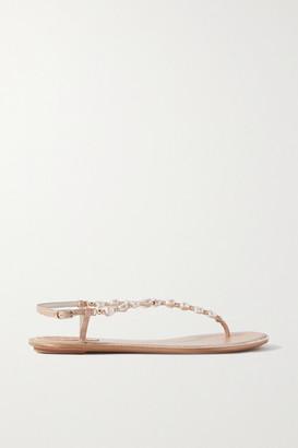 Rene Caovilla Cecile Embellished Leather Sandals - Neutral