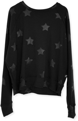 Terez Girl's Foiled Star-Print Crewneck Sweatshirt, Size 4-6X