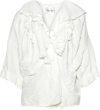 CARMEN MARCH Ruffled Crinkled-twill Blouse