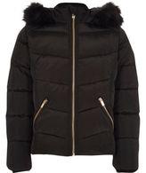 River Island Girls Black faux fur hood puffer jacket