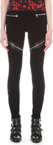 Givenchy Leather-trim stretch-crepe leggings