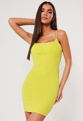 Missguided Sxf X Lime Strappy Seam Bodycon Mini Dress