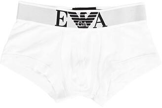 Emporio Armani Stretch Cotton Wide Waistband Trunk (White) Men's Underwear