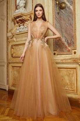 Cristallini Embellished Sleeveless Tulle Gown