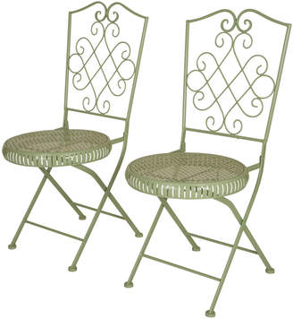 Glitz Home Set Of 2 36.25In Metal Mint Green Folding Patio Dining Chairs