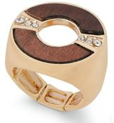 Thalia Sodi Gold-Tone Crystal & Wood Stretch Ring, Created for Macy's