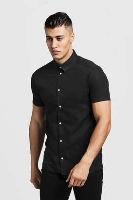 BoohoomanBoohooMAN Mens Black Slim Fit Short Sleeve Shirt With Contrast Buttons, Black