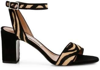 Tabitha Simmons Leticia Zebra-Print Calf Hair Ankle-Strap Sandals