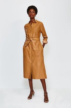 Karen Millen Leather Long Sleeve Shirt Dress