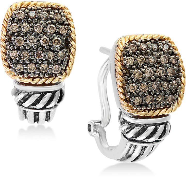 Effy Balissima by Diamond Pave Cluster Drop Earrings (1/3 ct. t.w.) in Sterling Silver & 18k Gold