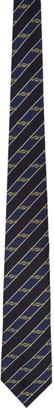 Gucci Navy Silk Interlocking G Horsebit Tie