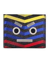 Fendi Face Chevron Leather Card Case