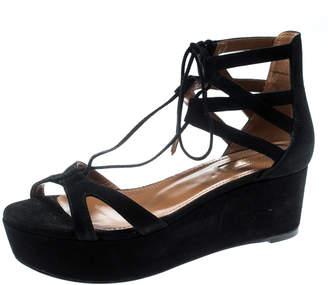 Aquazzura Black Cut Out Suede Beverly Hills Lace Up Open Toe Platform Sandals Size 36.5