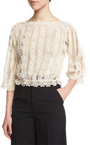 RED Valentino 3/4-Sleeve Lace & Macrame Top, Ivory