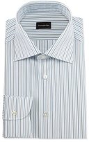 Ermenegildo Zegna Alternating-Striped Dress Shirt, Open White Pattern