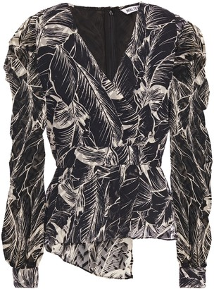Walter Baker Ruffled Fil Coupe Printed Georgette Blouse