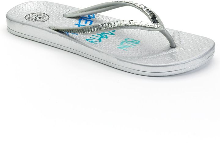 """So ® textured """"sun, party, repeat"""" jelly flip-flops"""