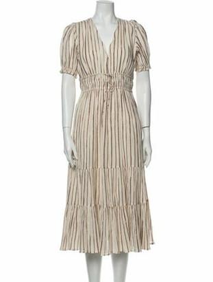 Ulla Johnson Striped Knee-Length Dress w/ Tags Metallic