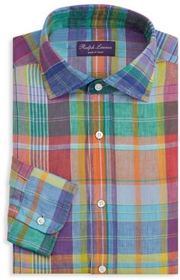 Ralph Lauren Purple Label Ashton Madras Plaid Linen Dress Shirt