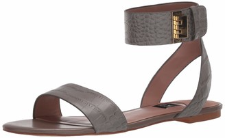 ZAC Zac Posen Women's Flat Sandal with Velcro Closure Ankle Strap Mule