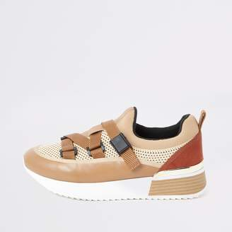 River Island Womens Beige strappy runner trainers