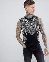Asos Design Longline Sleeveless T-Shirt With Dropped Armhole With Paisley Skull Print & Acid Wash