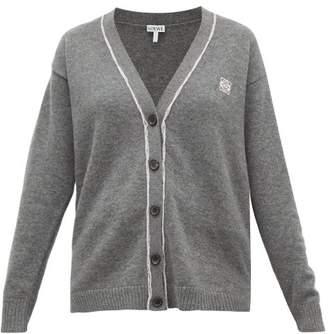 Loewe Anagram-embroidered Wool Cardigan - Womens - Grey
