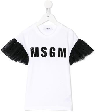 Msgm Kids Embellished Tulle Sleeve T-Shirt