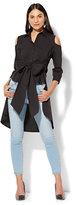 New York & Co. 7th Avenue - Madison Stretch Shirt - Peplum Hi-Lo Cold Shoulder