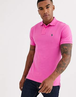 Polo Ralph Lauren slim fit pique polo in bright pink