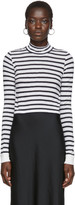 Alexander Wang White and Navy Striped Mock Neck T-Shirt