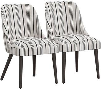 One Kings Lane Set of 2 Barron Side Chairs - Graphite Stripe