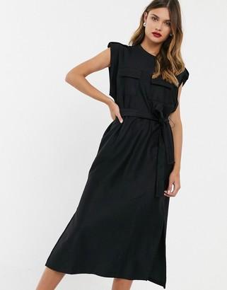 Asos Design DESIGN utility pocket sleeveless belted midi dress-Black
