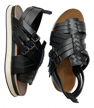 Bottega Veneta Black Leather Sandals