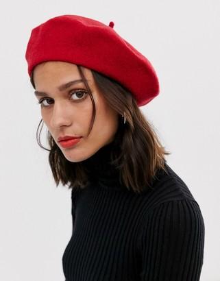 Asos Design DESIGN wool beret-Red