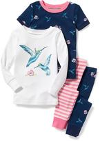 Old Navy Bird-Graphic 4-Piece Sleep Set for Toddler & Baby
