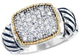 Effy Jewelry Effy 925 Sterling Silver & 18K Yellow Gold Accented Diamond Ring, 0.37 TCW
