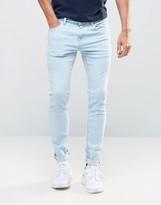 Pull&bear Super Skinny Jeans In Light Blue