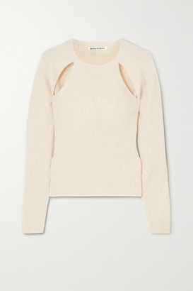 Reformation Basilica Cutout Ribbed Cashmere Sweater - Ivory