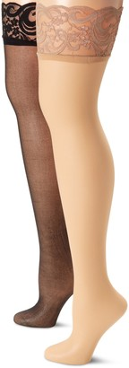 MUSIC LEGS Women's Plus-Size 2 Pack Backseam Sheer Thigh Hi with Lace Top